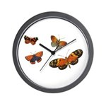 Orange Butterflies Wall Clock