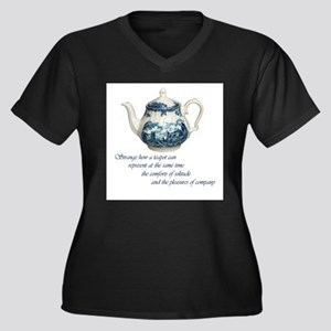 teapot Women's Plus Size V-Neck Dark T-Shirt