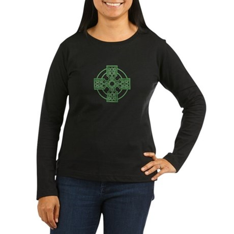 celtic cross green Women's Long Sleeve Dark T-Shir