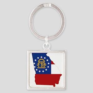Georgia Flag Square Keychain