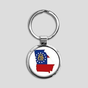Georgia Flag Round Keychain