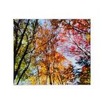 Autumn Trees Oil Painting Throw Blanket