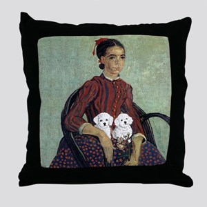 White Puppies Throw Pillow