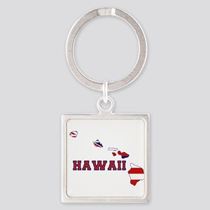 Hawaii Flag Square Keychain