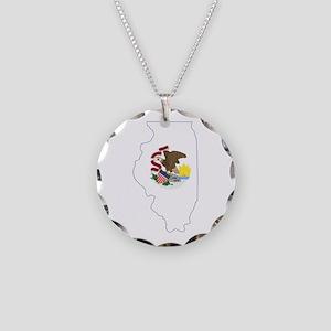 Illinois Flag Necklace Circle Charm