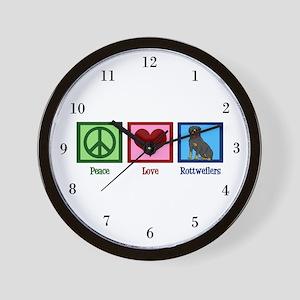 Peace Love Rottweilers Wall Clock