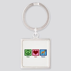 Peace Love Boxer Dog Square Keychain