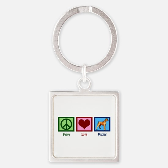 Peace Love Boxers Square Keychain