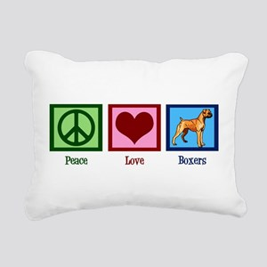 Peace Love Boxers Rectangular Canvas Pillow