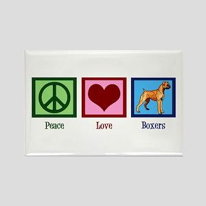Peace Love Boxer Dog Rectangle Magnet