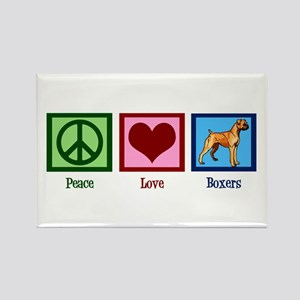 Peace Love Boxers Rectangle Magnet