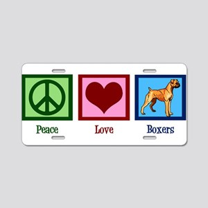 Peace Love Boxer Dog Aluminum License Plate