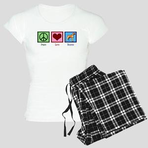 Peace Love Boxer Dog Women's Light Pajamas