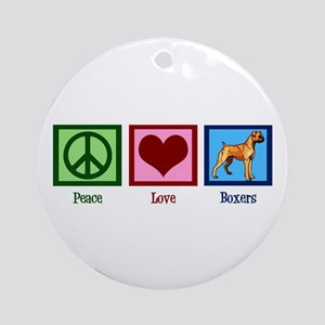 Peace Love Boxer Dog Round Ornament