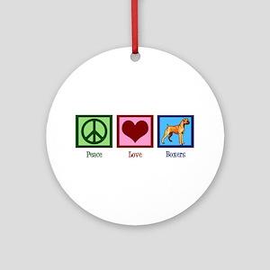 Peace Love Boxers Ornament (Round)