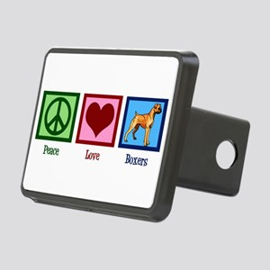 Peace Love Boxer Dog Rectangular Hitch Cover