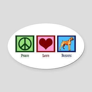 Peace Love Boxer Dog Oval Car Magnet