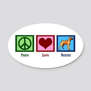 Peace Love Boxers Oval Car Magnet