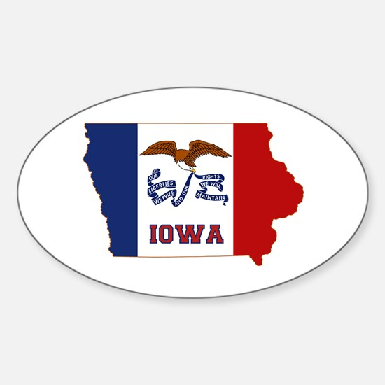 Iowa Flag Sticker (Oval)