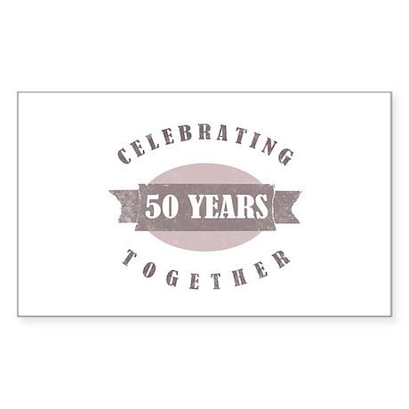 Vintage 50th Anniversary Sticker (Rectangle)