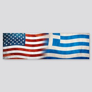 Greek American Flags Bumper Sticker