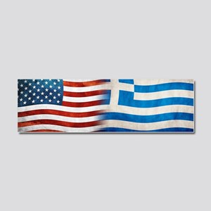 Greek American Flags Car Magnet 10 x 3