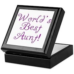 World's Best Aunt! - Purple Keepsake Box