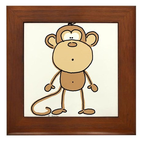 Oooh Monkey Framed Tile