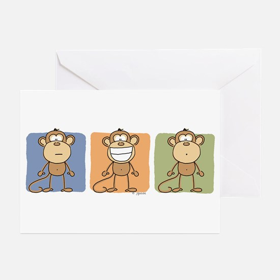 Monkey Trio Greeting Cards (Pk of 10)