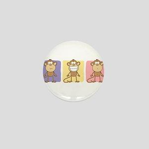Monkey Trio Pastel Mini Button