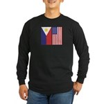 Philippine Flag & US Flag Long Sleeve Dark T-Shirt