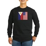 Philippine Flag & US Flag Long Sleeve Dark T-Shirt