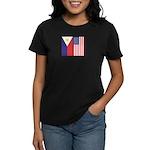 Philippine Flag & US Flag Women's Dark T-Shirt