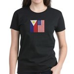 Philippine Flag & US Flag Women's Dark T-Shirt