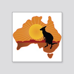 "Australia Kangaroo Square Sticker 3"" x 3"""
