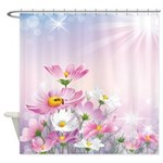Pink and White Daisies Shower Curtain