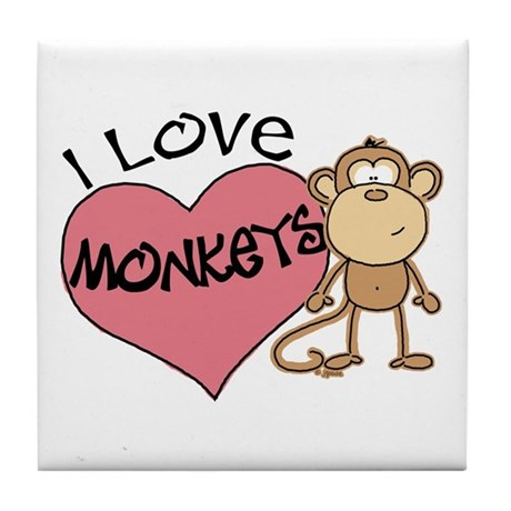 I Love Monkeys Tile Coaster