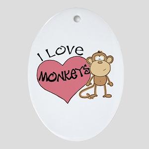I Love Monkeys Oval Ornament