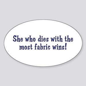 Funny Quilters Quote Oval Sticker