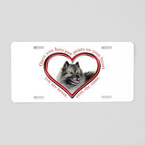 Keeshond Paw Prints Aluminum License Plate