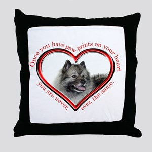 Keeshond Paw Prints Throw Pillow