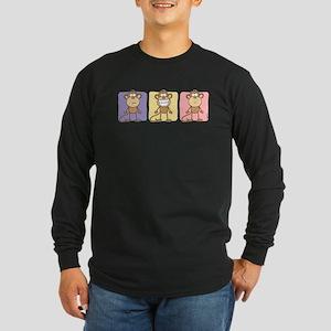 Monkey Trio Pastel Long Sleeve Dark T-Shirt