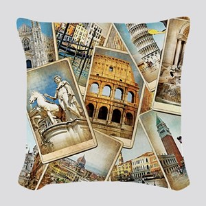 Italy Photo Collage Woven Throw Pillow
