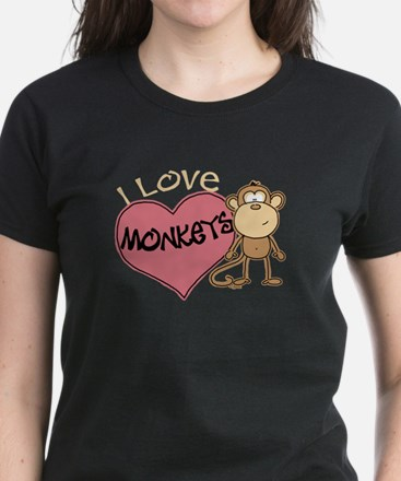 I Love Monkeys Women's Dark T-Shirt
