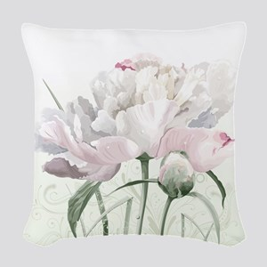 Beautiful Peony Painting Woven Throw Pillow
