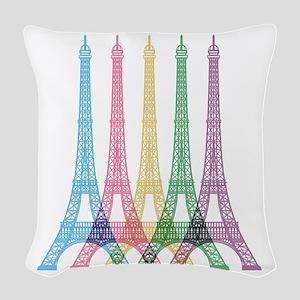 Eiffel Tower Pattern Woven Throw Pillow
