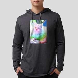 Unicorn Rainbow Cat Mens Hooded Shirt