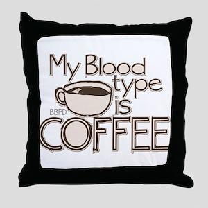 Blood Type Coffee Throw Pillow