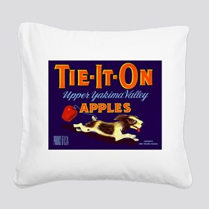 1948 Apple Crate Label Pup Tie It On Square Canvas