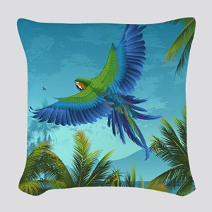 Tropical Bird Woven Throw Pillow